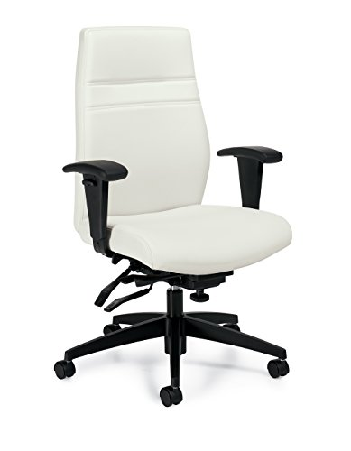 OTG2913 White Leather Luxhide Managers Multi-Tilter Chair