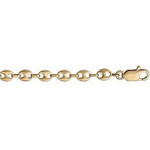 Helios Bijoux - Chaine Collier Homme - Plaqué Or - Long 50cm - Larg 5mm - Maille Grain de Cafe - Neuf