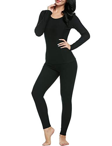 CzDolay Ski Snow Base Layer Leggings Women's Long Thermal Underwear Set Top & Pants (Black, Large) ()