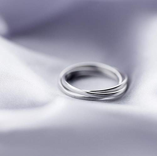 925 Sterling Silver Intertwining 3 Bands Rolling Stacking Rings