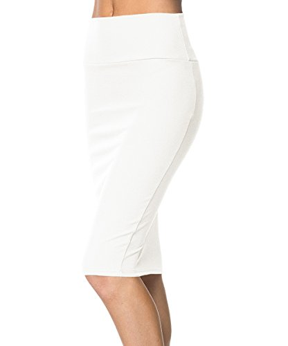 Midi Gonna Longuette Gonna Vita Elastica Ufficio Bianco Bodycon Aderente Urban Alta GoCo Donna Gonna Cintola qgXz7pz