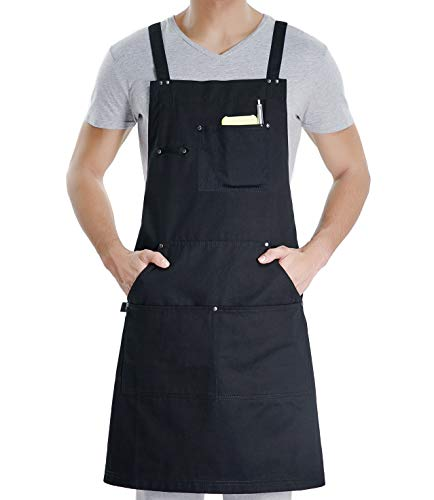 VANRICH LDG Cooking Apron for Men Women,Professional for BBQ Kitchen Cooking Grill,Bib Chef Design with Tool Pockets+Quick Release Buckle+Towel Loop, Plus Size Adjustable M to XXL