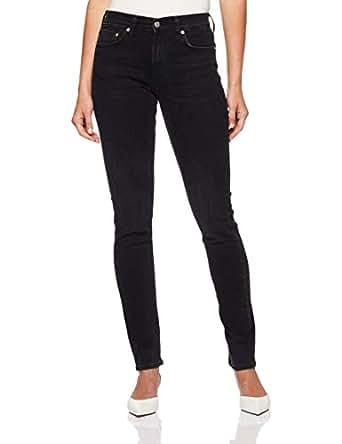Calvin Klein Women's 021 Mid Rise Slim Fit Jean, Denver Washed Black, 24