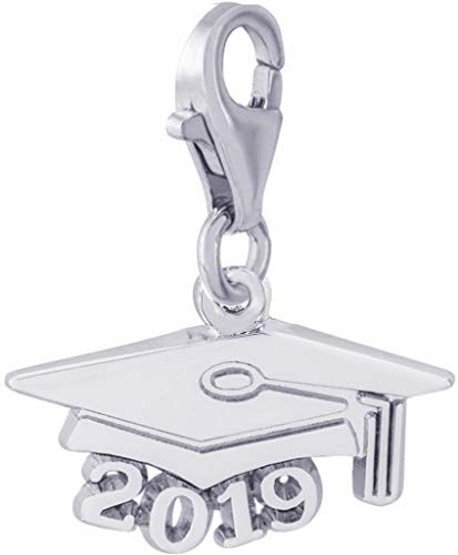 Rembrandt Charms, 2019 Graduation Cap with Clasp, Large.925 Sterling Silver, Engravable
