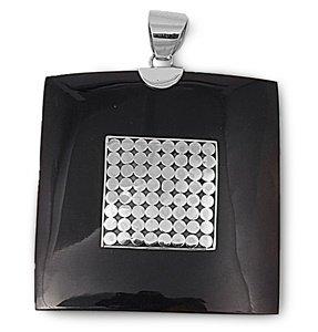 Joyara - Collier Femme Argent Fin 925/1000 Noir Onyx (Vient avec une chaîne de 45 CM)