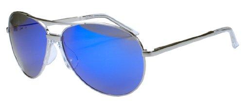 JiMarti P16 No Tangle Polarized Aviator Sunglasses (Silver & Blue - Sunglasses No