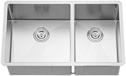 "32/"" x 18/"" x 9/"" Under Mount 60//40 Double Bowl Stainless Kitchen Sink w// Drain"