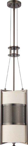 Nuvo Lighting 60/4031 One Light Diesel Vertical Pendant with Khaki Fabric Shade/Cream Diffuser, Hazel Bronze ()