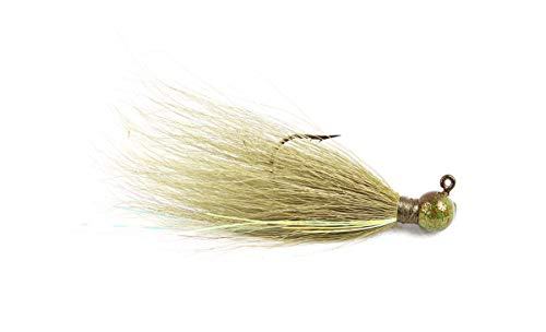 Haggerty Lures Bucktail Hair Jigs for River Fishing Bass Round - 3pk - Crappie Walleye (Olive, 1/16 oz)