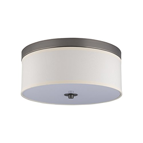 Linea di Liara Occhio 15-Inch Two-Light Ceiling Fixture, Oil Rubbed Bronze with a Sandstone Fabric Shade, Flushmount LL-C252-BRO