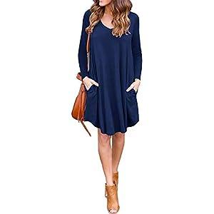 LILBETTER Women's Long Sleeve Pocket Casual Loose T-Shirt Dress