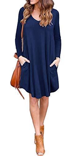 LILBETTER Women's Long Sleeve Pocket Casual Loose T-Shirt Dress (Navy Blue M)