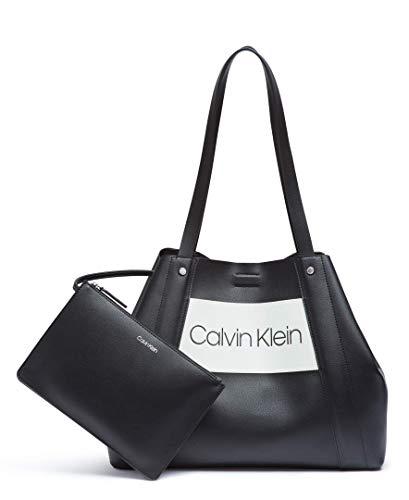 Calvin Klein Coleen Vegan Leather Novelty Logo Tote, Black/White