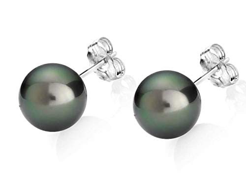 14K Gold AAA Quality Round Black Tahitian South Sea Cultured Pearls Earrings for Women (white-gold, 8.0-8.5mm)