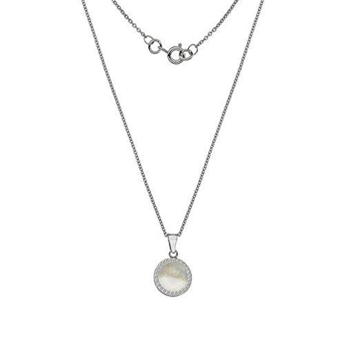9ct or blanc Nacre et pierre de pendentif sur chaîne de 45,7cm