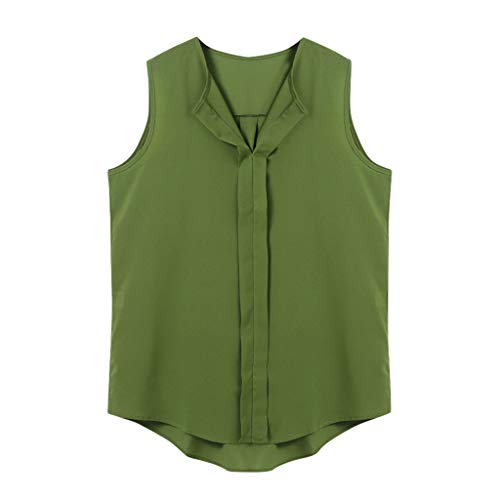 Dressy Tops for Women, Yezijin Women Tshirt Summer Fashion Solid T Shirt V-Neck Sleeveless Shirts Top Green ()
