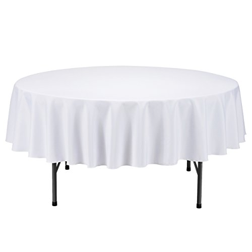 Remedios Round Polyester Tablecloth - for Wedding, Restaurant, or Banquet use, White, 70-inch