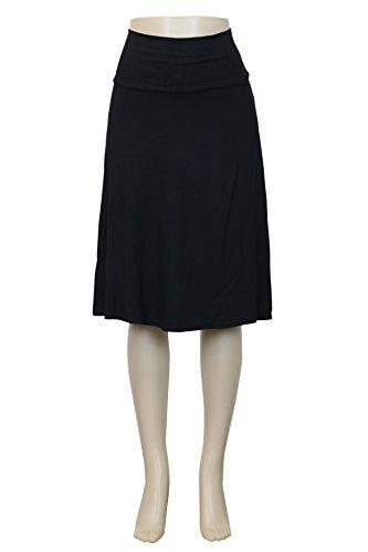 Womens Basic Flowy Versatile A-Lined Flared Skirt (S26714 Black, ()