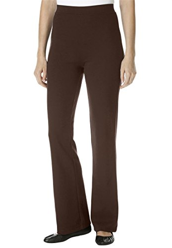 Women's Plus Size Tall Pants, Boot-Cut In Ponte Knit Chocolate,16 T