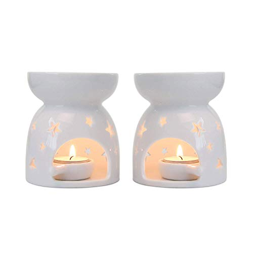 - T4U Ceramic Tealight Candle Holder Oil Burner, Essential Oil Incense Aroma Diffuser Furnace Home Decoration Romantic Gift White Set of 2 - Star Patten