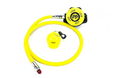 """DXD Scuba Diving Octo With 36"""" Flex Yellow Hose Balanced Octopus Compatible with up to 40% nitrox Free Sopras Sub Octo Keeper"""