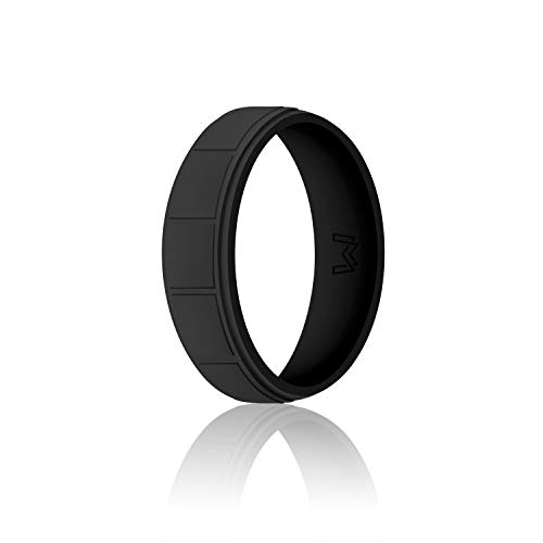 WIGERLON Mens Silicone Wedding Ring &Rubber Wedding Bands Width 8.7mm Color Black Size 12