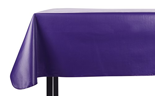 Yourtablecloth Heavy Duty Vinyl Rectangle or Square Tablecloth – 6 Gauge Heavy Duty Tablecloth – Flannel Backed – Wipeable Tablecloth with vivid colors & many sizes 52 x 90 Purple Square Purple Vinyl