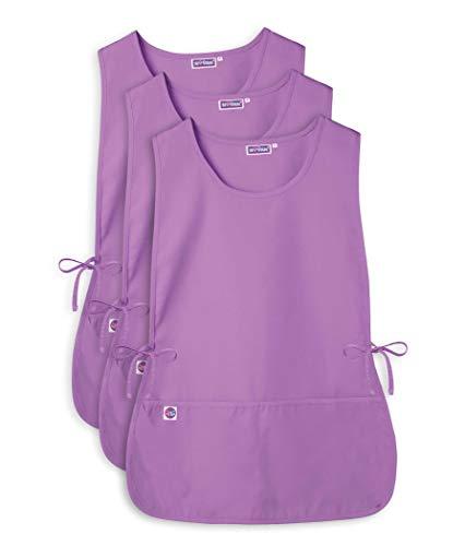 Sivvan Unisex Cobbler Apron - Adjustable Waist Ties, 2 Deep front pockets (3 Pack) - S87003 - Lavender - - Cook Shirt Poplin