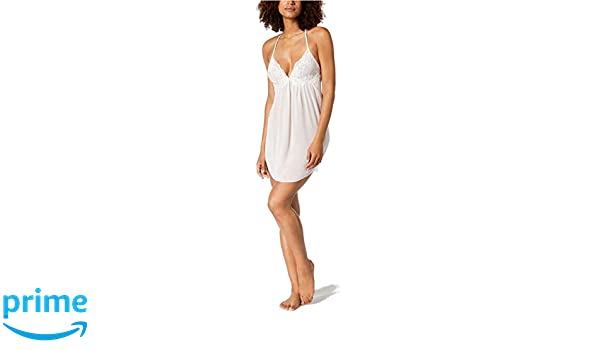 Linea Donatella Womens Floral Lace Trim Chemise Nightgown