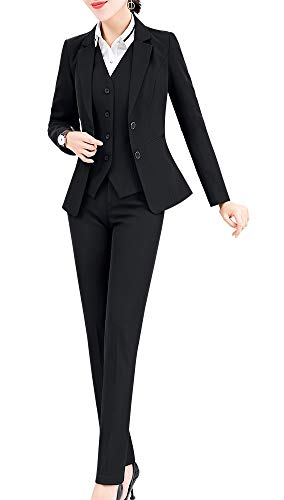 Women's Three Pieces Office Lady Stripe Blazer Business Suit Set Women Suits Work Skirt/Pant,Vest Jacket (BlackKZ-6803, XL)