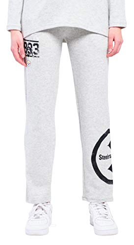 ICER Brands NFL Pittsburgh Steelers Women's Jogger Pants Punt Brushed Hacci Sweatpants, X-Large, Gray ()