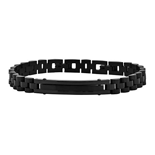 Magna Steel Men's Stainless Steel Chain Classic Watch Band Bracelet with ID, Black