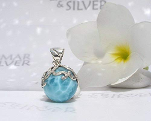 Larimar Ball Pendant by Larimarandsilver - azure Larimar sphere, aquamarine pearl pendant, turtleback, silver octopus, Dominican Larimar - AZ356
