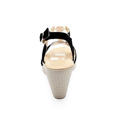 LvYuan Mujer Sandalias Pump Básico Cuero Verano Boda Casual Vestido Fiesta y Noche Pump Básico Pedrería Tacón Cuña Negro 5 - 7 cms Black