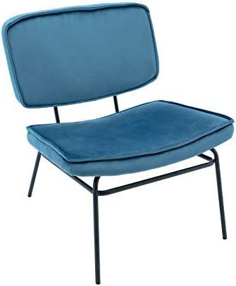 Velvet Upholstered Blue Accent Chair