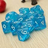 Ten Sided Gem Dice Board Game Toys - 10-Pcs Ten Sided Gem Dice Die Dungeons & Dragons Games Set - Tenner Gemstone Cardinal Treasure