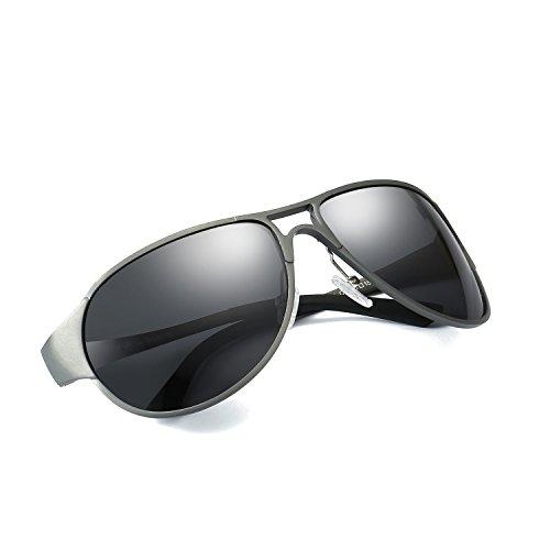 Polarizadas Metal Contra de Gris Gafas Ultraligero Protección Aviador los UVA Sol UVB 100 Gris Rayos de Hombre Dañi FwxHR5qfn