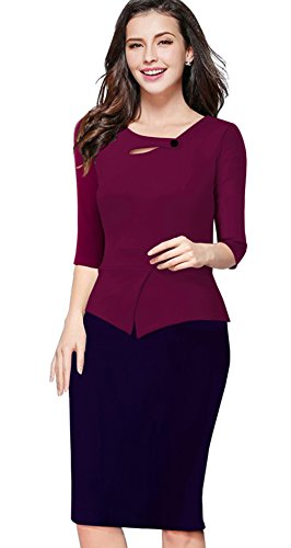 Merope J Womens Floral Patchwork Peplum 3/4 Sleeves Office Work Dress(L,Wine+Navy) (Celeb Halloween Costumes 2017)