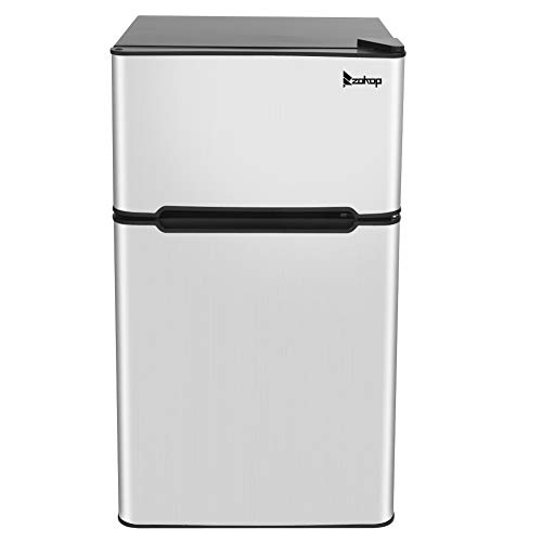 MEMORY Stainless Steel Compact Refrigerator/Freezer, Mini Refrigerator Double Door Refrigerator and Freezer, AC115V/60Hz 90L/3.2CU.FT Household Refrigerator