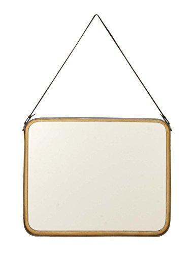 deco 7998731cuadrado redondeado de madera espejo de pared, color negro y dorado