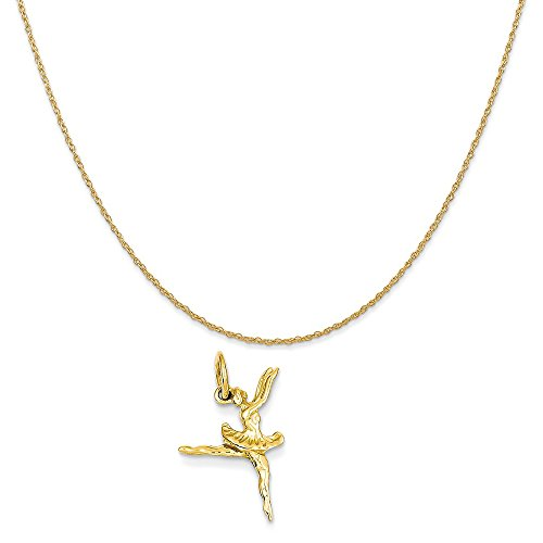 Mireval 14k Yellow Gold Ballerina Charm on a 14K Yellow Gold Rope Chain Necklace, 16