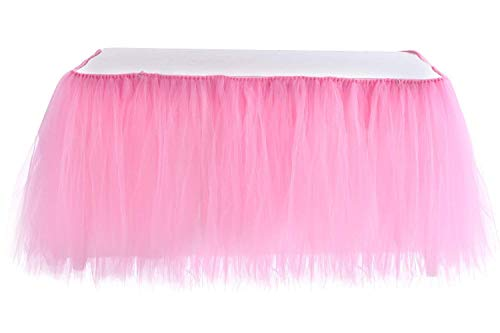 Table Skirt | 1 Yard Tutu Tulle Table Skirting Cover for Wedding, Birthday, Baby Shower, Slumber Party, Girl Princess, Home Decoration, Party Supplies (Pink) -
