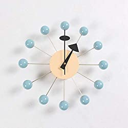 LNDDP Wooden and Metal Simulation Movement 12.5 Modern Wall Clock Mute tick | Decoration | Color Wooden Ball | pin Wheel Concept,B