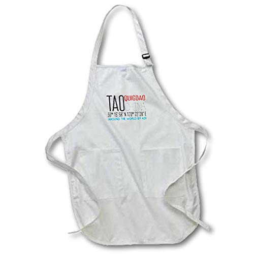 3dRose Alexis Design - Around The World by Air - Cool Text TAO QUIGDAO, China, Coordinates. Around The World by air - Medium Length Apron with Pouch Pockets 22w x 24l (apr_319801_2)