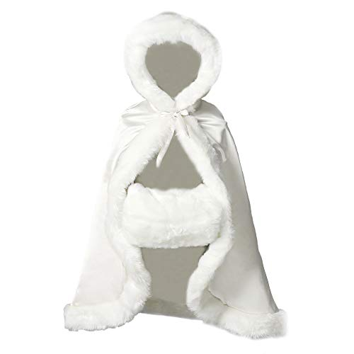 Flower Girl Cape Winter Wedding Cloak for Infant Junior Bridesmaid Hooded Reversible Ivory 22