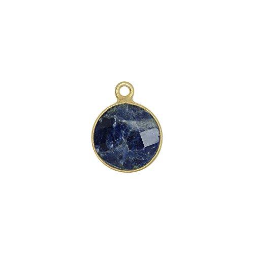 Vermeil Bezel (Sodalite Gemstone and Gold Vermeil Bezel Pendant, Circle 12mm, 1 Piece)