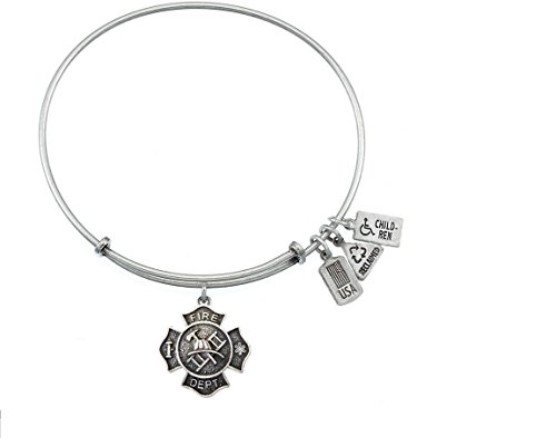 Fire Shield Charm Bangle (Silver) (Silver Enamel Shield Charm)