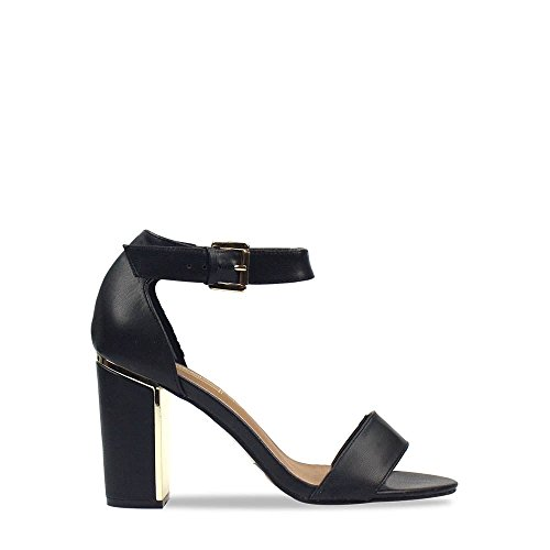 Harmony Ladies Women High Block Heel With Gold Detail Ankle Strap Open Toe Sandal Black Pu HQHmS4LD0