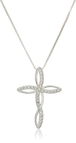 Collection Cross Necklace - Womens Sterling Silver Cubic Zirconia Twist Cross Pendant Necklace, 18 Inches