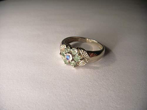 - Stunning Estate 14K White Gold Alexandrite Moonstone Diamond Floral Ring Band